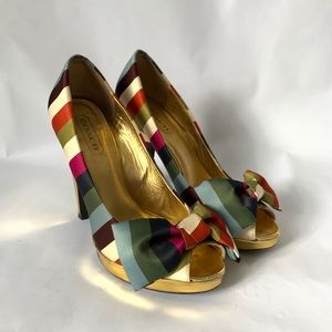 Coach // Multi Stripe Bow Peep Toe High Heels 6